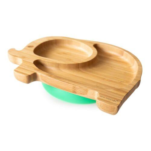 Elefántos, bambuszból készült tapadókorongos tányér - zöld