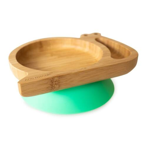 Csiga formájú, bambuszból készült tapadókorongos tányér - zöld