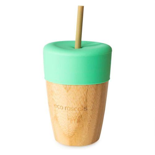 Bambusz pohár 210 ml + 2 db bambusz szívószállal - zöld