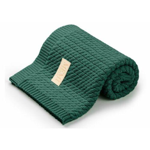 Pamut takaró fonott kötéssel - üveg zöld