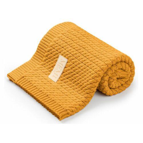 Pamut takaró fonott kötéssel - mustár