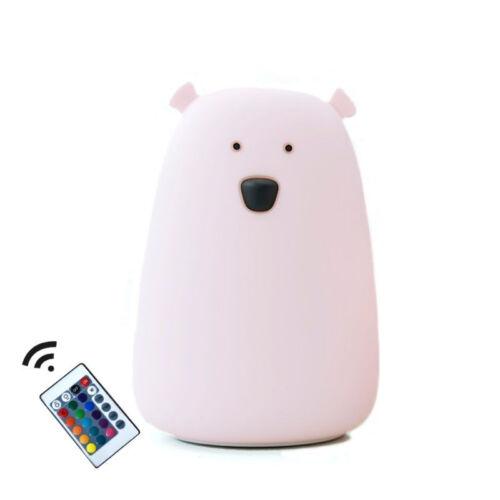 Medve szilikon lámpa távirányítóval - rózsaszín