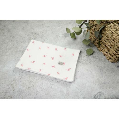 Muszlin takaró (dupla) - Hímzett flamingó