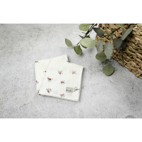 Muszlin takaró (szimpla/2db) - Apró virágos (krém)